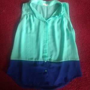 Women's Mine Sleeveless Blue And Green Blouse L